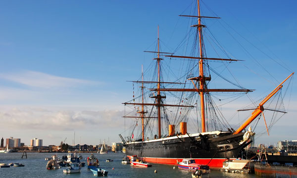 The HMS Victory on the historic Portsmouth dockyard